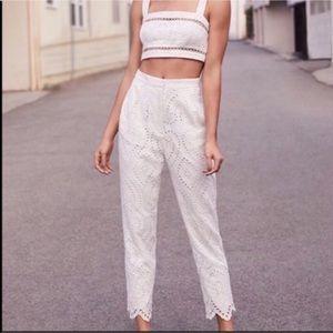 WAYF Piper High Waist Eyelet Crop Pants White XS